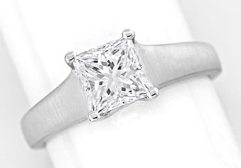 Foto 1 - Diamantring 1,13ct Solitär Princess Cut Diamant in Platin, S2531