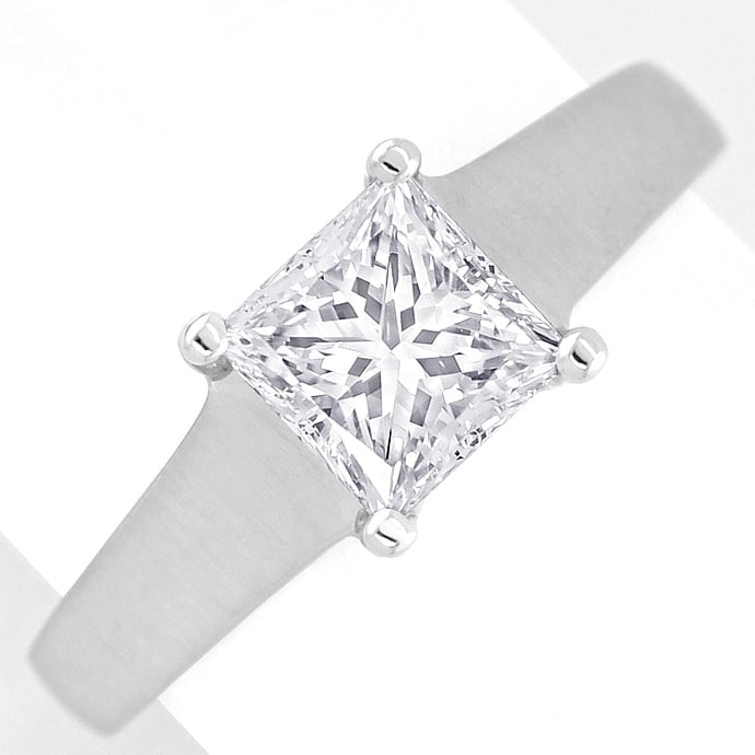 Foto 2 - Diamantring 1,13ct Solitär Princess Cut Diamant in Platin, S2531