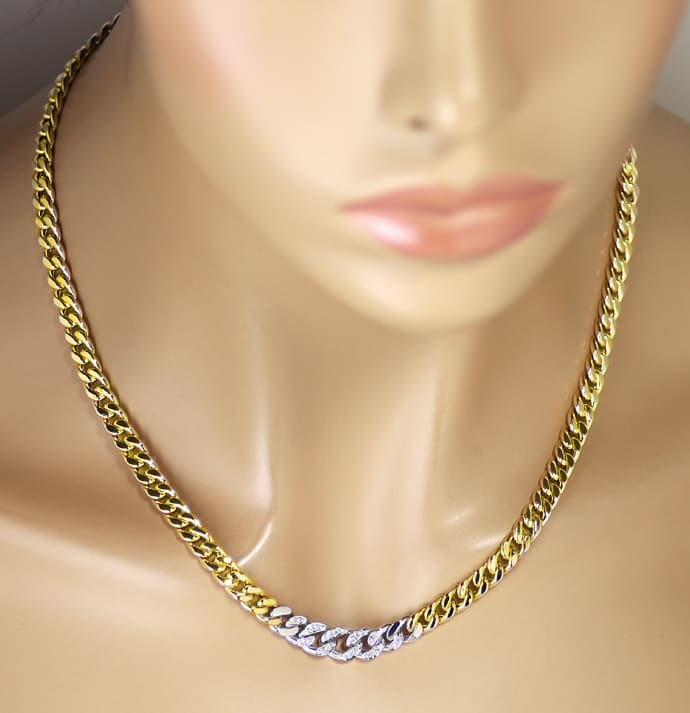 Foto 4 - Modisches Flachpanzer Collier 20 Diamanten in 14K Gold, S2533