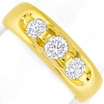 Massiver Bandring mit 0,85ct Brillanten in 14K Gelbgold