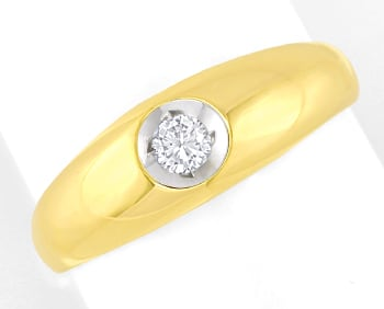 Foto 1 - Bandring mit 0,17ct Brillant Solitär in 14K Gold, S2574