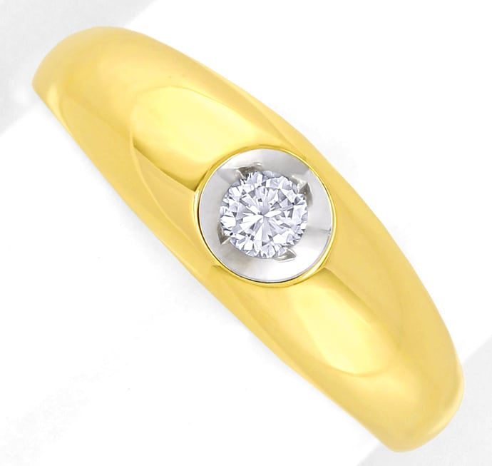 Foto 2 - Bandring mit 0,17ct Brillant Solitär in 14K Gold, S2574