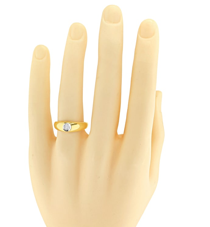 Foto 4 - Bandring mit 0,17ct Brillant Solitär in 14K Gold, S2574
