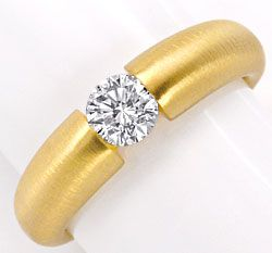 Foto 1, Halbkaräter Brillant Diamantspannring 18Kt Gold SI1plus, S2627