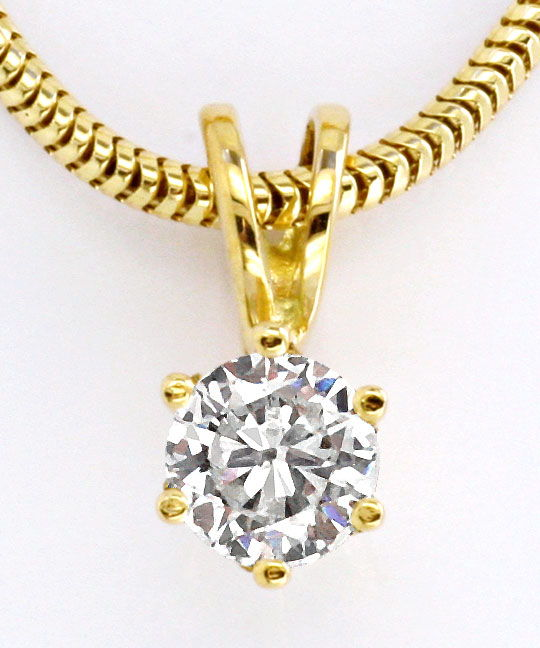 Foto 2, Brillant Diamant Kollier 0,30ct Top Wesselton 18Kt Gold, S2628