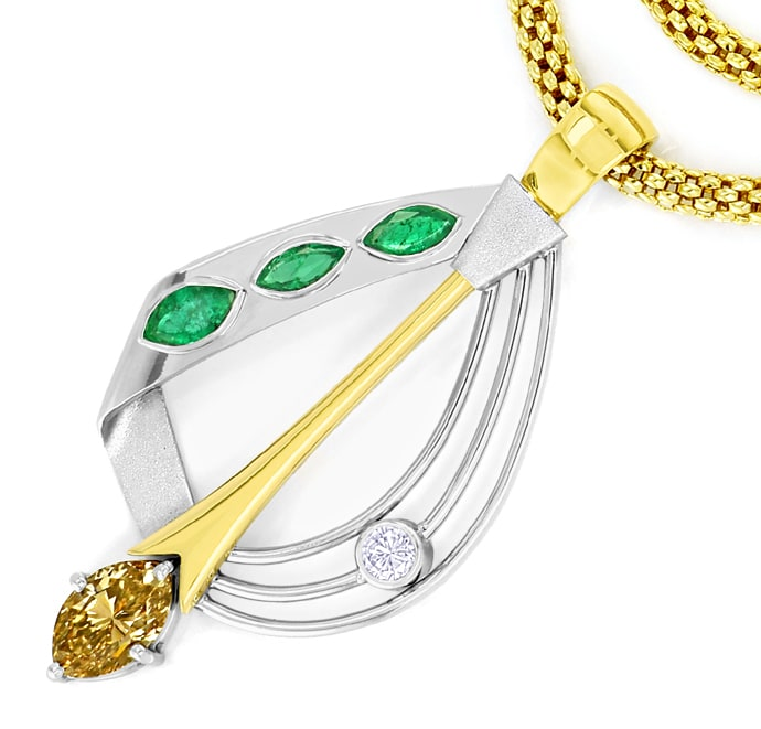 Foto 2 - Design Collier Diamanten Smaragde Gold Platin, S2701