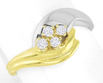 Foto 1 - Damenring 0,15ct Brillanten 14K Bicolor Gold, S2734