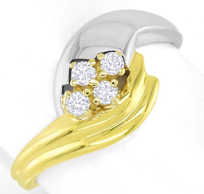 Foto 2 - Damenring 0,15ct Brillanten 14K Bicolor Gold, S2734