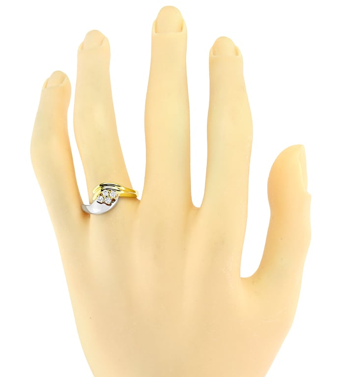 Foto 4 - Damenring 0,15ct Brillanten 14K Bicolor Gold, S2734