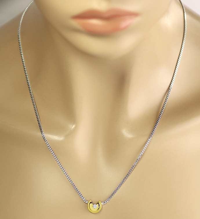 Foto 4 - Modernes Bicolor Gold Collier 0,14ct Brillant, S2836