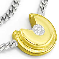 zum Artikel Modernes Bicolor Gold Collier 0,14ct Brillant, S2836