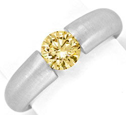 Foto 1, Brillant Diamant Spannring 0,8ct Gold Braun Super Feuer, S2883
