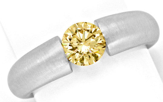 Foto 2, Brillant Diamant Spannring 0,8ct Gold Braun Super Feuer, S2883