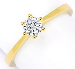 Foto 1, Brillant Diamant Krappen Ring 0,35ct F VS1 18K Gelbgold, S2973