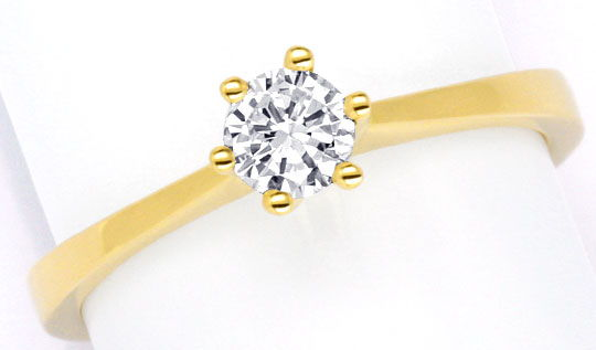 Foto 2, Brillant Diamant Krappen Ring 0,35ct F VS1 18K Gelbgold, S2973
