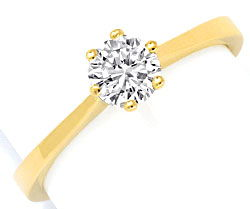 Foto 1, Brillant Diamant Ring 18K Gelbgold 0,5ct G VS1 Brillant, S2974
