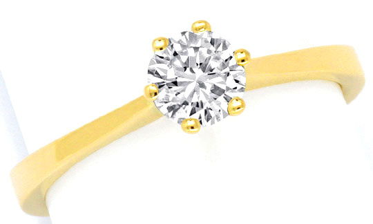 Foto 2, Brillant Diamant Ring 18K Gelbgold 0,5ct G VS1 Brillant, S2974
