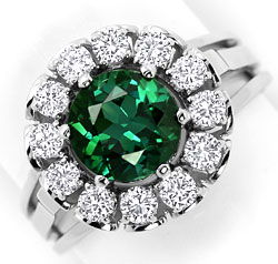 Foto 1, 1,7ct Chrom Turmalin und Brillianten Weissgold Ring 14K, S3018