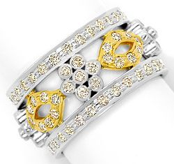 Foto 1, Filigraner Blumen Vollmemory Ring 1,81ct Brillanten 14K, S3050