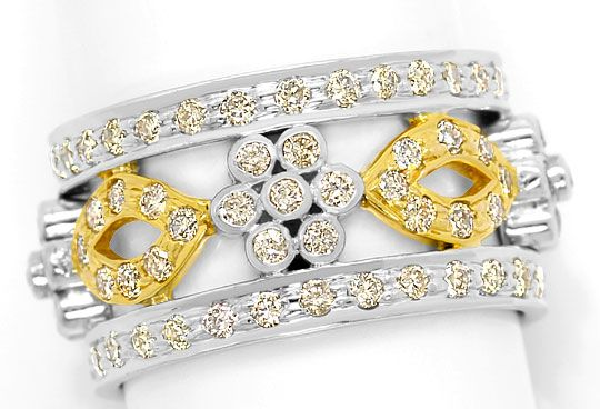 Foto 2, Filigraner Blumen Vollmemory Ring 1,81ct Brillanten 14K, S3050