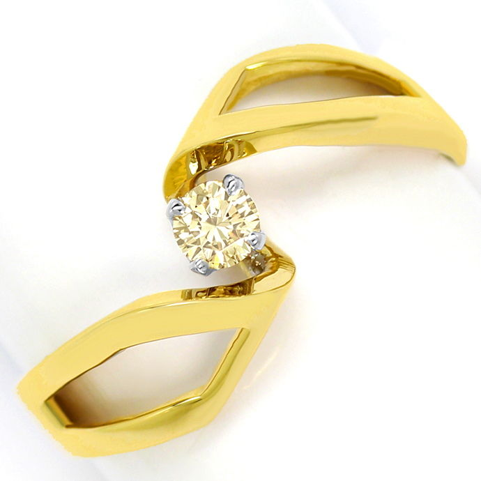 Moderner Brillant Solitärring 0,15ct Lupenrein 14K Gold, Designer Ring