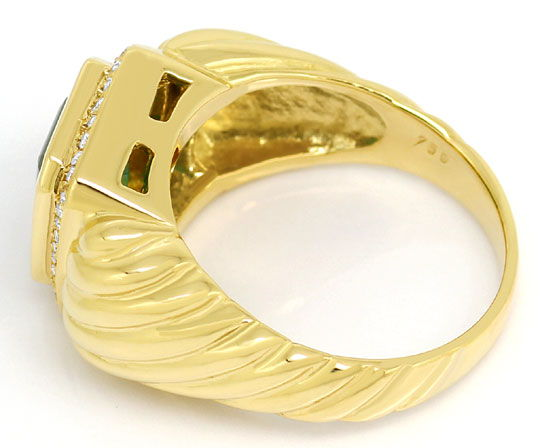 Foto 3, 3ct Riesen Top Smaragd Gelbgold Brillanten Ring 18K/750, S3065