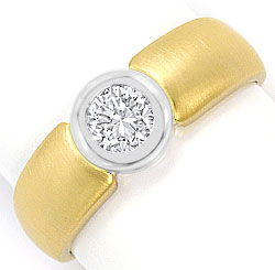 Foto 1, Diamant Ring Brillant Solitär 0,44ct Gelbgold Weissgold, S3091