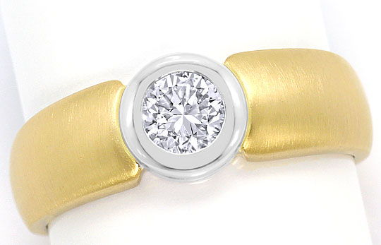 Foto 2, Diamant-Ring Brillant-Solitär 0,44ct Gelbgold Weissgold, S3091