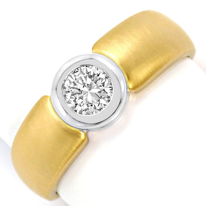 Diamant Ring Brillant Solitär 0,44ct Gelbgold Weissgold, Designer Ring