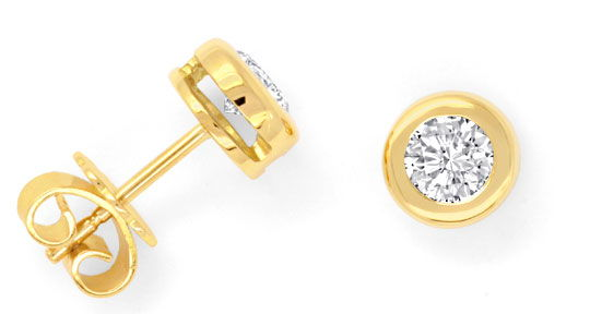 Foto 1, Brillant-Ohrstecker Ohrringe 18K Gelbgold 0,68ct Luxus!, S3099