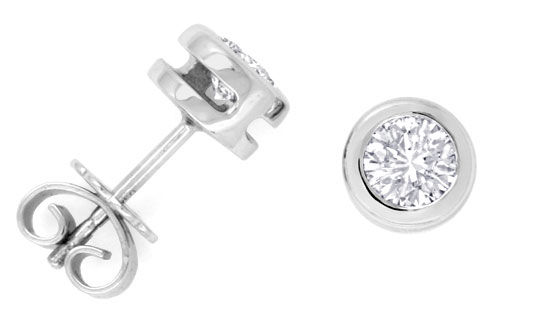 Foto 1, Diamant Ohrstecker 0,76ct in 18K Weissgold Zarge Luxus!, S3105