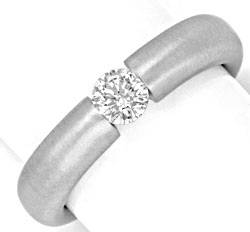 Foto 1, Brillant-Spannring 0,35 ct 18K massiv Weiss-Gold Luxus!, S3140
