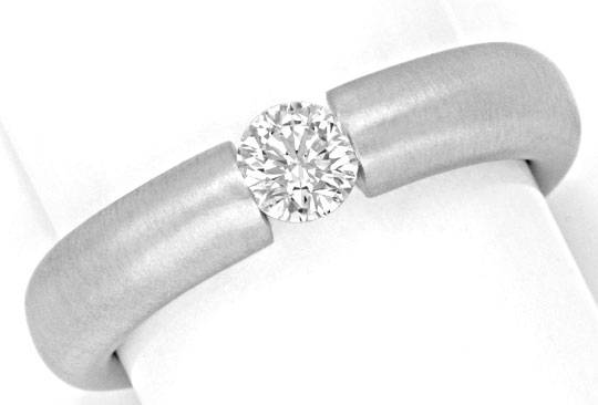 Foto 2, Brillant-Spannring 0,35 ct 18K massiv Weiss-Gold Luxus!, S3140