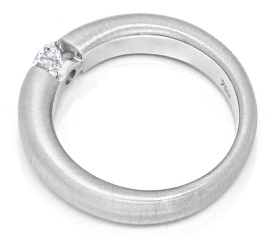 Foto 3, Brillant-Spannring 0,35 ct 18K massiv Weiss-Gold Luxus!, S3140