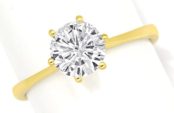 Foto 1, Brillant 1,01ct Lupenrein Weiss HRD in 18K Goldring, S3142