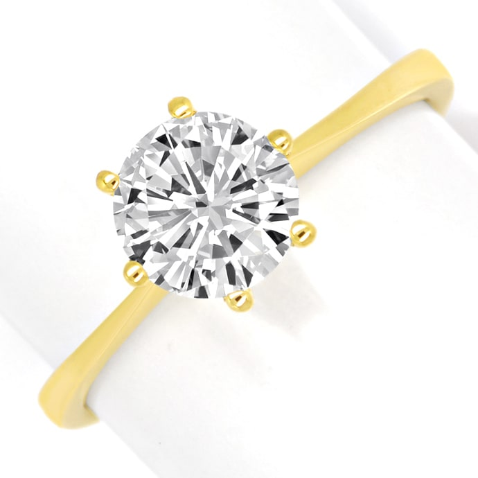 Brillant 1,01ct Lupenrein Weiss HRD in 18K Goldring, Designer Ring