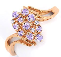 Foto 1, Diamanten Ring 3 Brillanten 10 Farbsteine Rose Gold 14K, S3164