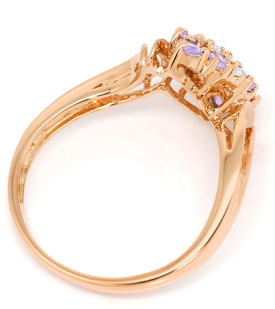 Foto 3, Diamanten Ring 3 Brillanten 10 Farbsteine Rose Gold 14K, S3164