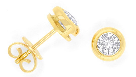 Foto 1, Brillant-Ohrstecker Ohrringe 0,71ct 18K Gelbgold Luxus!, S3198