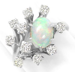 Foto 1, Weissgoldring 1,6ct Super Milch-Opal 0,95ct Brillianten, S3207