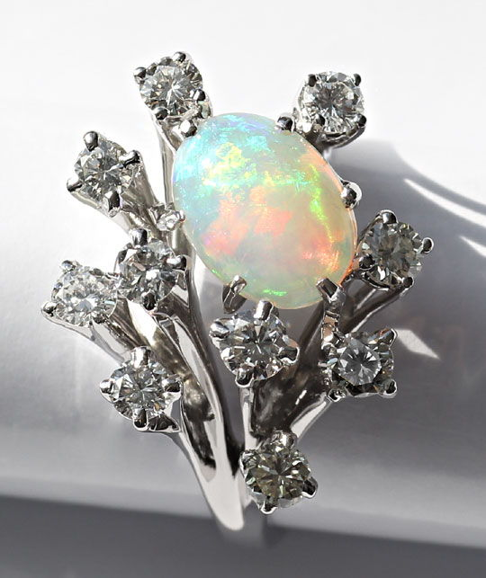 Foto 2, Weissgoldring 1,6ct Super Milch-Opal 0,95ct Brillianten, S3207