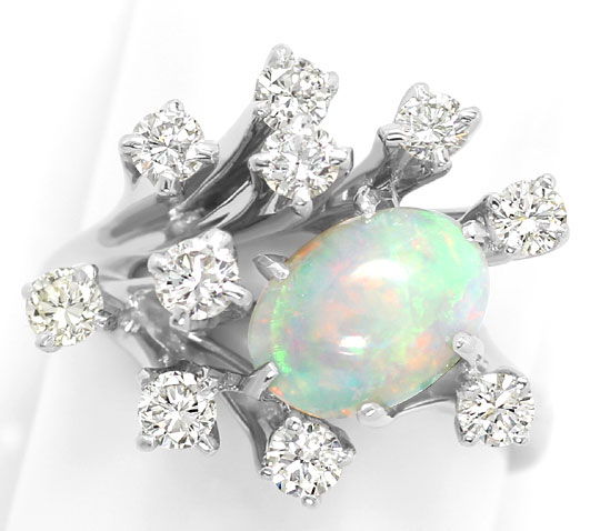 Foto 3, Weissgoldring 1,6ct Super Milch-Opal 0,95ct Brillianten, S3207