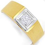 Herren Brillant Ring 0,36ct Solitaer Gelbgold Weissgold