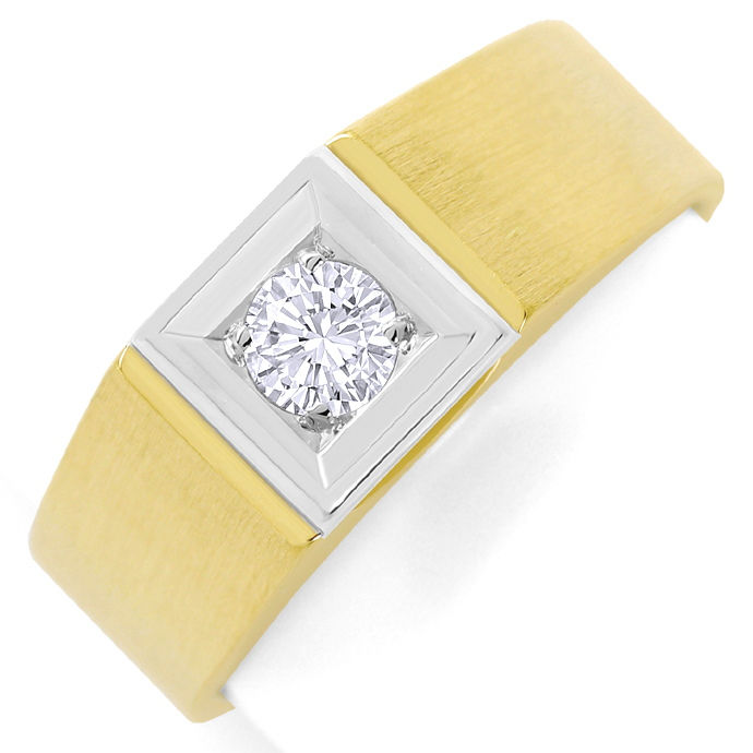Herren Brillant Ring 0,36ct Solitaer Gelbgold Weissgold, Designer Ring