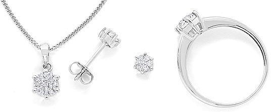Schmuck diamanten  Schmuck-Set Kollier Ring Ohrstecker Diamanten Weissgold, S3232