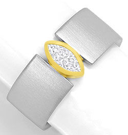 Foto 1, Platin-Gold-Ring 0,40ct River Lupenrein Navette-Diamant, S3264
