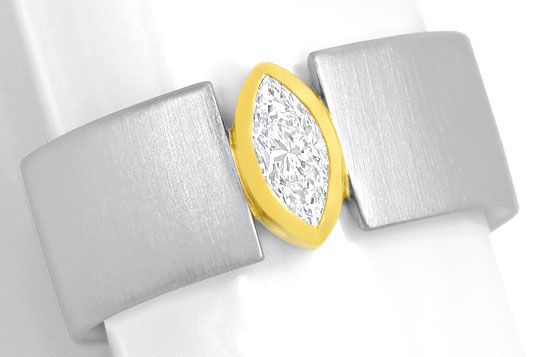 Foto 2, Platin-Gold-Ring 0,40ct River Lupenrein Navette-Diamant, S3264