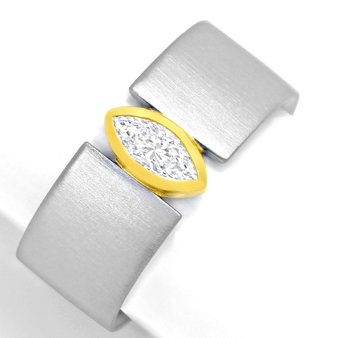 Platin Gold Ring 0,40ct River Lupenrein Navette Diamant, Designer Ring