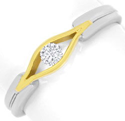 Foto 1, Designer Brillant Ring 0,10ct River 14K Gelb Weiss Gold, S3267