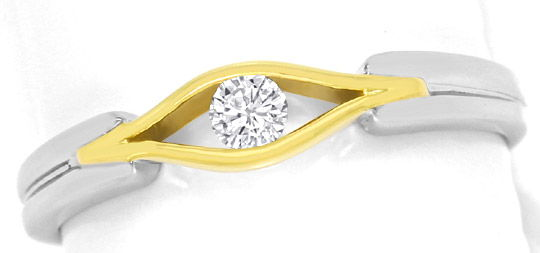 Foto 2, Designer-Brillant-Ring 0,10ct River 14K Gelb-Weiss-Gold, S3267